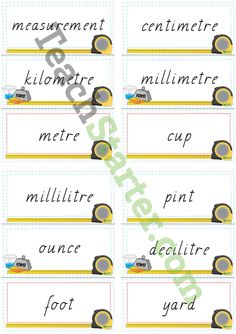 Units of Measurement Word Wall Vocabulary | Teaching Resources - Teach Starter
