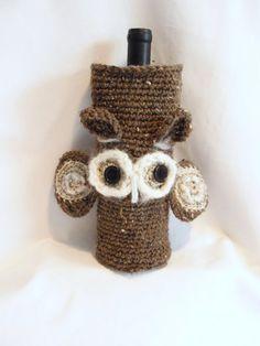 OWL crocheted WINE SACK / Cozy