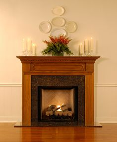 A classic, colonial look, The Hamilton wood fireplace mantel surround has exquisite dentil and crown molding. Fireplace Mantel Surrounds, Stone Mantel, Wood Fireplace Mantel, Wood Mantels, Fireplace Ideas, Mantel Ideas, Craftsman Fireplace, Fireplace Decorations, Fireplace Molding