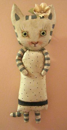 ooak cat art doll original doll stripes cat by sandymastroni