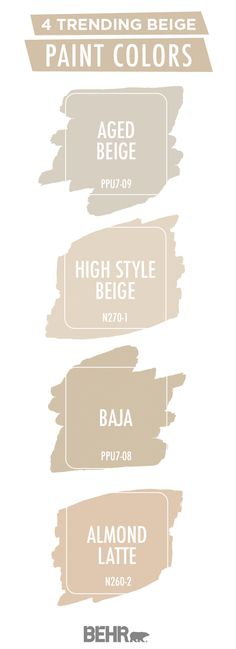 Beige is back in a big way. Luckily, BEHR® Paint has you covered with this trending color palette. Aged Beige, High Style Beige, Baja, and Almond Latte come together to create a neutral color palette Beige Paint Colors, Beige Color Palette, Bathroom Paint Colors, Paint Colors For Living Room, Paint Colors For Home, Bedroom Colors, House Colors, Colour Palettes, Beige Colour