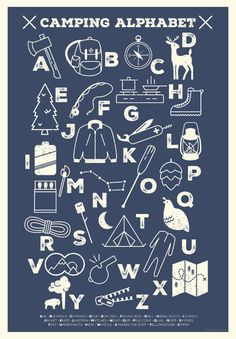 Camping Alphabet Poster by LiaGriffith on Etsy