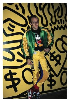 Keith Haring, NY 1985. I have always been obsessed with pants like that.