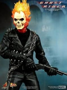"Wear this fearsome motorcyclist Ghost Rider costume for Halloween 2012 and be like Nicolas Cage in this horror movie. Here you can find some cheap costumes and other ""riders"" accessories like gloves, chains, masks and more."
