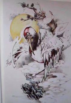 Chim hạc Tatoo Bird, Japanese Tattoo Art, Oriental Tattoo, Irezumi, Tattoo Sketches, Bird Art, Chinese Art, Asian Art, Samurai