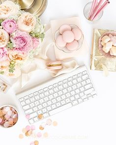 Product styling, prop styling and photography by Shay Cochrane www.shaycochrane.com | B is for Bonnie Designs for the SC StockShop | product photography, styled stock, stock photography, styled desktop, beautiful workspace, pink and gold, macarons, the Flaire Exchange, confetti, peonies
