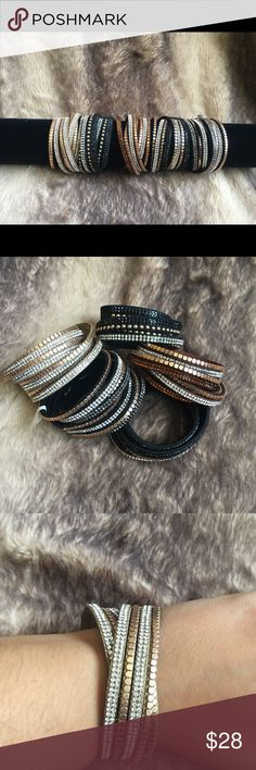 WRAP BRACELETS Beautiful wrapping bracelets with snap closure! 3 colors available! This bracelet can fit up to wrist size 8. Perfect to wear to work or a night out! Jewelry Bracelets