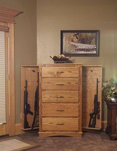 Secret storage in your bedroom furniture. WANT!! #guns
