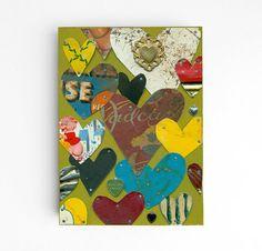 vintage tin hearts ORIGINAL ART modern love by ElizabethRosenArt, $56.00