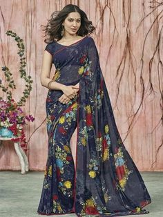 YellowFashion.in — Blue color georgette party wear sarees : prishika collection yf-40821 | Georgette party wear sarees