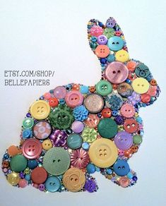 Button Art Swarovski Rhinestones Bunny Rabbit Button Bunny Art Wall Art Baby Nursery Rabbit Rescue on Etsy Diy Buttons, Vintage Buttons, Button Art, Button Crafts, Button Canvas, Bunny Crafts, Easter Crafts, Diy And Crafts, Crafts For Kids