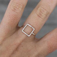 Anello argento quadrato anello minimal fatto a mano  di AMEjewels