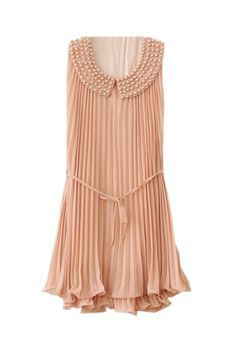 Romwe Beaded Neckline Nude Pink Chiffon Dress.  Simply gorgeous! ♥