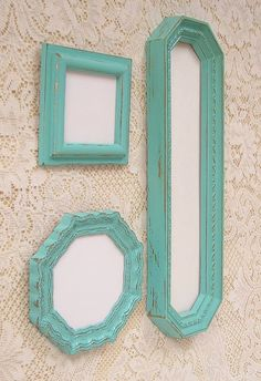 Shabby Chic Decorative Mirrors..Love this color for the living room!