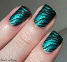 Teal black zebra striped nailart