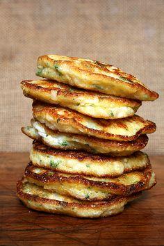 Jalapeño and Corn CornFritters made From Cornmeal/Polenta and Greek Yogurt. Breakfast Recipes