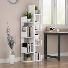 Ebern Designs Carleton Etagere Bookcase Color: White, Size: H x W x D Cube Bookcase, Modern Bookcase, Etagere Bookcase, Bookshelf Design, Bookcase Storage, Tree Bookshelf, Ladder Bookcase, Diy Bedroom Decor, Living Room Ideas