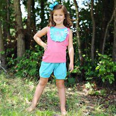 7/29/2013  Pink and Aqua Knit Bib Shorts Set