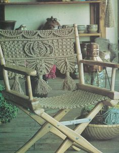 Macrame Chair Pattern Director's Chair pdf by AylasVintageCrafts                                                                                                                                                                                 More
