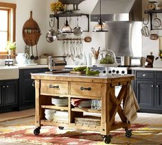 Hamilton Reclaimed Wood Marble-Top Kitchen Island - Large | Pottery Barn ($1900) w/C screw up stools in iron?