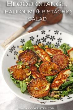 This gluten-free salad combines the sweetness of blood oranges with the saltiness of halloumi and the crunch of pistachios for a delicious vegetarian main meal. Fried Halloumi, Halloumi Salad, Vegetarian Main Meals, Eat To Live, Orange Recipes, Fruit And Veg, Blood Orange, Light Recipes, Salads