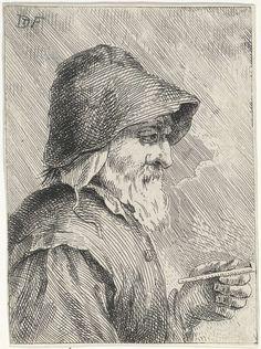 anoniem | Oude man met baard en een pijp in zijn hand, attributed to Jan Lauwryn Krafft (I), 1704 - 1765 | Een oude man met een baard, draagt een hoed op zijn hoofd, en houdt een pijp in zijn hand.