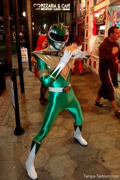 The Green Power Ranger poses on the sidewalk of Ybor City during Guavaween 2012.