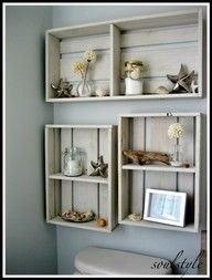 I love repurposing! Seriously, old planks, with a bit of paint and elbow grease = gorgeous beachy shelving!