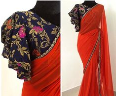 Stunning red color designer saree with designer blous… Diwali capsule collection. Stunning red color designer saree with designer blouse. Blouse with bell… Modern Blouse Designs, Stylish Blouse Design, Modern Design, Saree Blouse Neck Designs, Bridal Blouse Designs, Saree Jacket Designs Latest, Saree Blouse Models, New Saree Designs, Sari Bluse