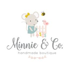Premade Logo & Blog Header - Sweet Mouse & Garden Friends Premade Logo Design - Customized with Your Business Name!