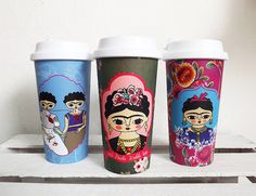 Frida Kahlo travel mug / Mug with flowers by Chunchitos on Etsy