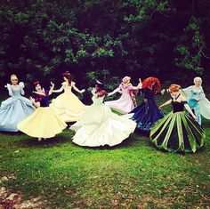 The princesses flaunting their dance technique (and their dresses)