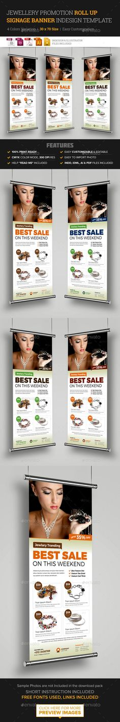 Jewellery Shop Roll Up Banner Signage InDesign