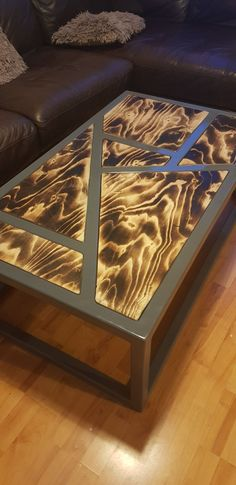 Steel and burnt plywood coffee table - work Welded Furniture, Pallet Garden Furniture, Iron Furniture, Steel Furniture, Unique Furniture, Home Decor Furniture, Furniture Design, Wood Table Design, Coffee Table Design