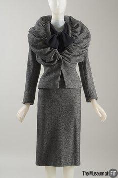 Suit | Belgium, Fall 2000 | Dries Van Noten (Belgian, b. 1958) | Black and white wool, Spandex, and black nylon | The Museum at FIT