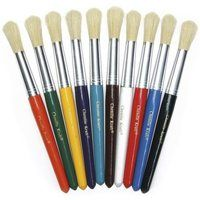 Short handles are great for small hands. Each pack includes 10 size 10 brushes in assorted colors of plastic handles. - Short plastic handles are great for small hands - Round stubby brushes - Measures long Artist Brush, Artist Painting, Round Paint Brush, Round Brush, Best Blue Paint Colors, Great Works Of Art, Painted Cups, Beginner Painting, Chenille