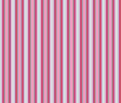 Melody's Zinnias pink and aqua stripe fabric by shellypenko on Spoonflower - custom fabric