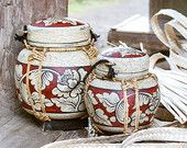 Vintage Hand Painted with Lanna Floral Design Inspired. Red and Cream color. Kitchen Storage Boxes, Storage Baskets, Painted Bamboo, Hand Painted, Bamboo Rice, Hand Statue, Thai Decor, Rice Box, Thai Rice