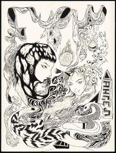 Grimes Made Amazing Art for Each 'Art Angels' Song Grimes Artwork, Art Sketches, Art Drawings, Pochette Cd, Arte Sketchbook, Art Hoe, Flash Art, Hippie Art, Surreal Art