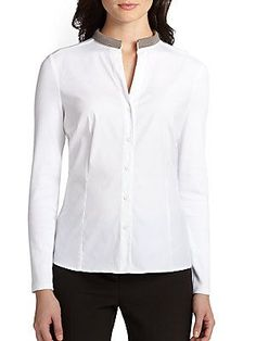 Peserico Poplin Knit-Back Shirt - White - Size 42 (8)