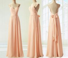 Light Pink Straps Simple Prom Dress with Bow, Simple Prom Dresses 2015, Formal Dresses, Evening Dresses