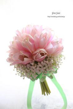 チューリップとかすみそうのブーケ tulip baby's breath bouquet