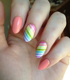 pastel stripes nail art using Sinful Colors Sugar Rush polishes (by Rainbowcutie /redditlaquerista)