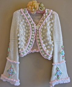Altered couture chenille shrug front.