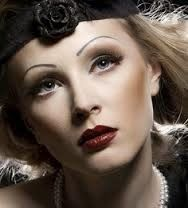 Picture of Woman's retro revival portrait. of the XX century. Professional makeup stock photo, images and stock photography. 1930s Makeup, Retro Makeup, Vintage Makeup, Vintage Beauty, Thin Eyebrows, How To Draw Eyebrows, Eyebrow Makeup, Hair Makeup, Beauty Makeup
