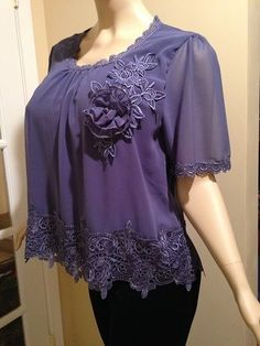 PRETTY ANGEL SIZE S, M, L, LAVENDER TOP WITH LACE NWT #PrettyAngel #Blouse