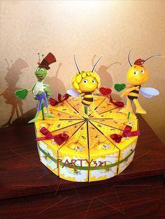 Maya the Bee Honey Party Birthday Cake Slice Box Paper Box