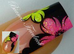Bright flower nail art on black nails ❤🎯❤ Get Nails, Fancy Nails, Hair And Nails, Fabulous Nails, Gorgeous Nails, Pretty Nails, Gel Nail Designs, Cute Nail Designs, Awesome Designs