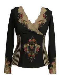 Long Sleeves Black Blouse Designed by Michal Negrin with Swarovski Crystals Accented Victorian Roses Print, White Stripes Motif on Sides, Scalloped Edge Hand Dyed Lace Trim and Gold Merrow Edge Finish - Size S Michal Negrin,http://www.amazon.com/dp/B008HQW2NC/ref=cm_sw_r_pi_dp_UiK4qb0F6242ZFE9