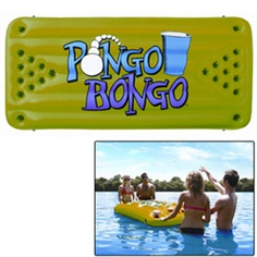 PONGO BONGO is a floating inflatable game table equipped with 12 cup holders on each side.  Kids love carnival games and will play PONGO BONGO for hours.  Durable thick gauge vinyl construction.  Hang it from a ceiling in your game room or tether it to a moored boat or dock with the 4 molded rope holders welded to the sides.  When you're done playing, turn it over and use it as a pool float or air mattress.  Ping pong balls included!